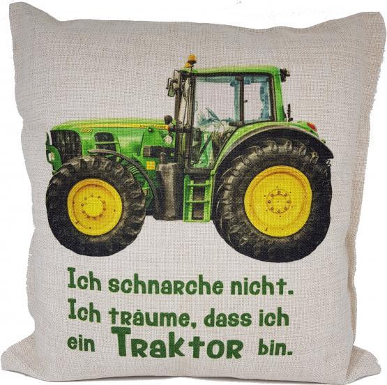 Anti-Schnarch-Kissen Traktor Trecker Spruch Ich schnarche nicht Geschenk Geburtstag Landwirt Bauer Schnarchen Leinenoptik