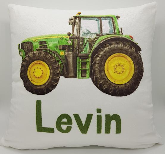 Namenskissen Traktor grün Kissen mit Namen