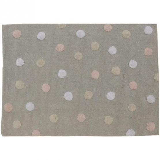 Lorena Canals Kinderteppich Punkte tricolor rosa
