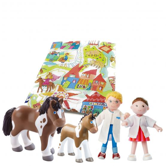 Haba Geschenkset Tierarzt Tierarzthelferin Pferd mit Fohlen