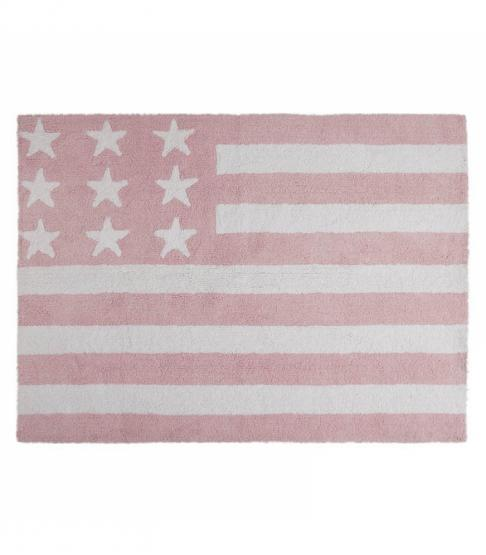 Lorena Canals Kinderteppich Amerikanische Flagge rosa
