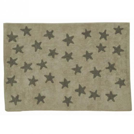 Lorena Canals Kinderteppich beige mit dunkelgrauen Sternchen
