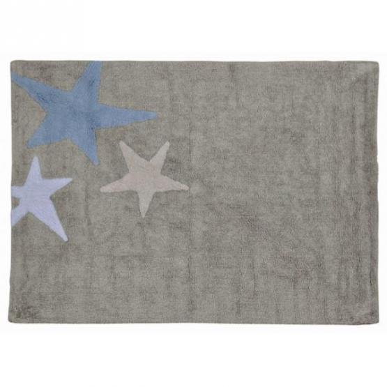 Lorena Canals Kinderteppich Drei Sterne blau