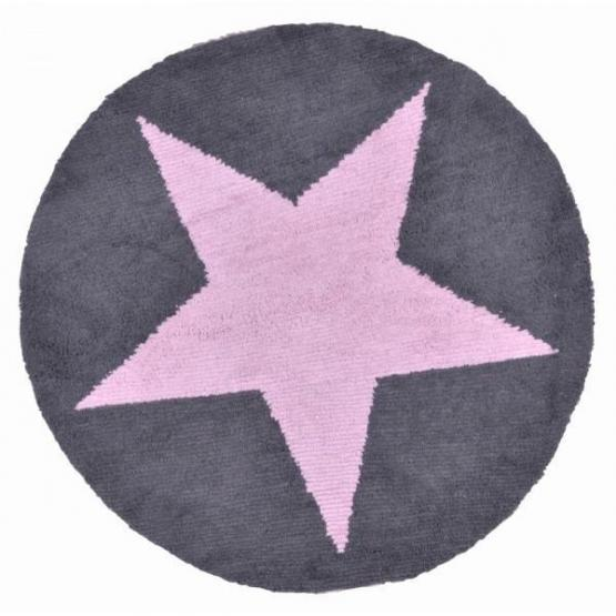 Lorena Canals Kinderteppich Stern rund rosa/grau