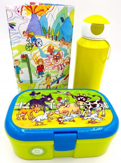 Lutz Mauder Lunchbox Bauernhoftiere und Mepal Trinkflasche apfelgrün