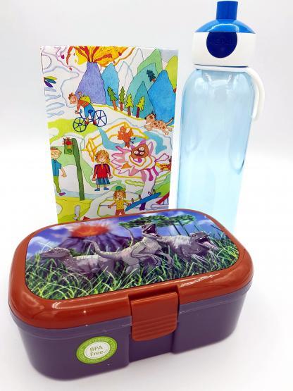 Lutz Mauder Lunchbox Dino und Mepal Trinkflasche 500 ml blau