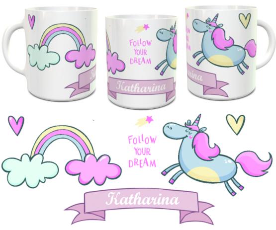 Einhorn-Tasse mit Wunschname - personalisierte Namenstasse pink