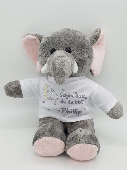personalisierter Elefant Kuscheltier zur Geburt mit Wunschname Glücksbringer