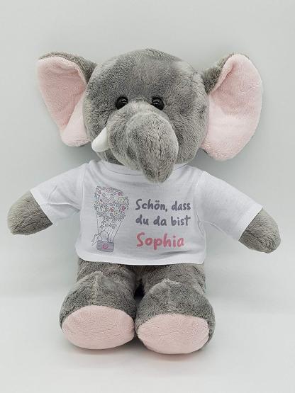 personalisierter Elefant Kuscheltier zur Geburt mit Wunschname