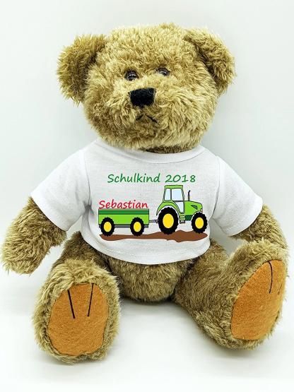 personalisierter Bär Kuscheltier für die Zuckertüte Schultüte mit Wunschname zur Einschulung Glücksbringer