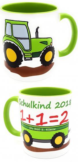 Schulkind Tasse Traktor 2018