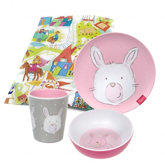 Sigikid Melamin Geschirr-Set Hase rosa Taufgeschenk 3-teilig