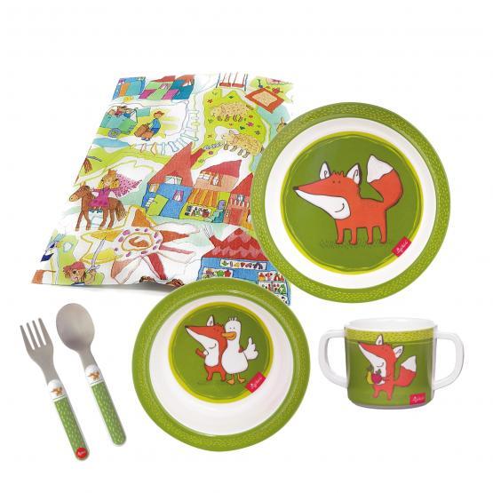 Sigikid Melamin Geschirr-Set Fuchs Forest grün  Taufgeschenk