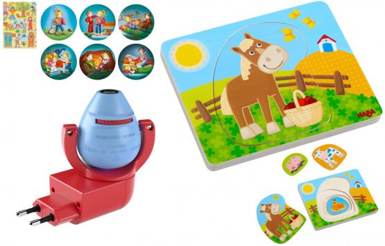 Haba Geschenkset Steckdosenlicht Conni und Puzzle Lustiges Landleben