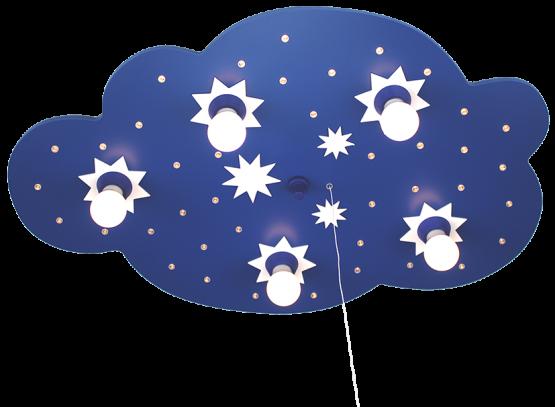 Elobra Sternenwolke LED dunkelblau, 5-flg.