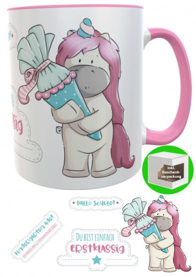 Tasse Schulkind Einhorn Mädchen Zuckertüte emmapünktchen, inkl. Geschenkverpackung