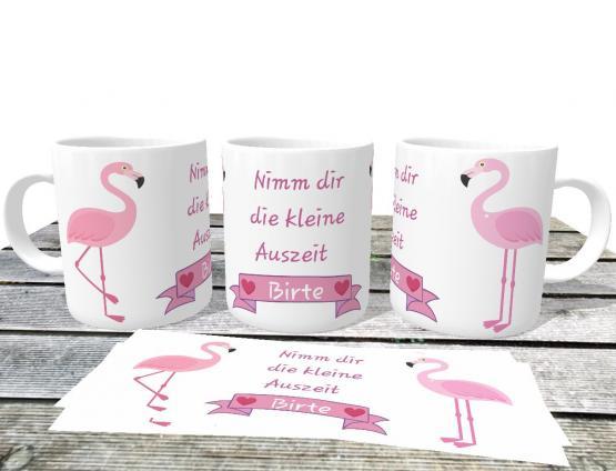 personalisierte Privattasse Flamingo mit Wunschname