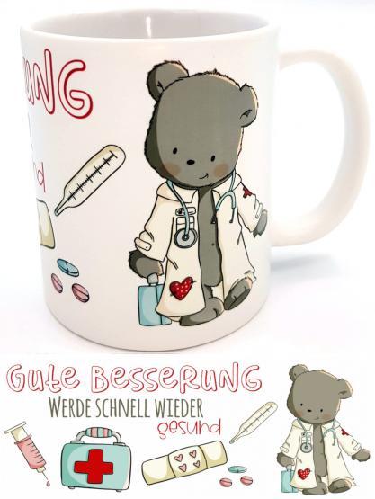 Tasse Gute Besserung Doktorbär emmapünktchen Genesungsgeschenk | Krankenhausbesuch