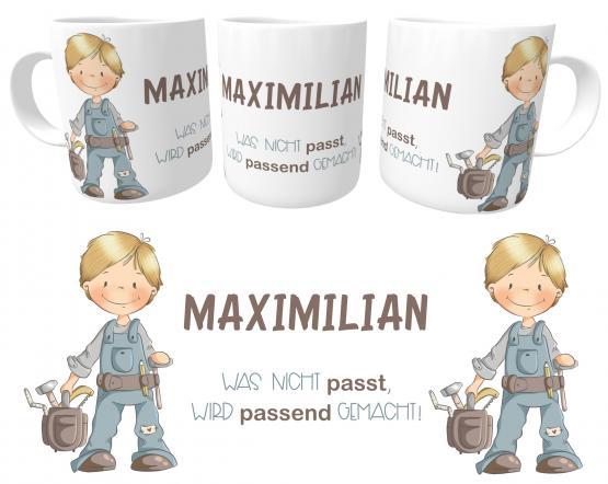 Tasse Kleiner Handwerker Spruch emmapünktchen mit Wunschname, inkl. Geschenkverpackung