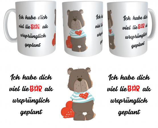 Kaffeetasse Geschenk zum Valentinstag LiebHab Bärchen emmapünktchen inkl. Geschenkverpackung