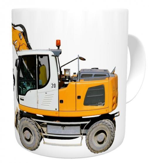 Kaffeetasse gelber Bagger mit Wunschname