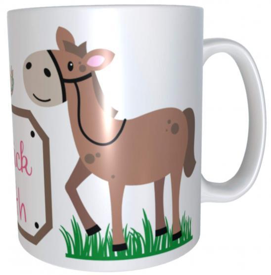 Namenstasse Pferd Viel Glück - personalisierte Kindertasse