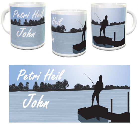 personalisierte Angler-Tasse hellblau mit Wunschname