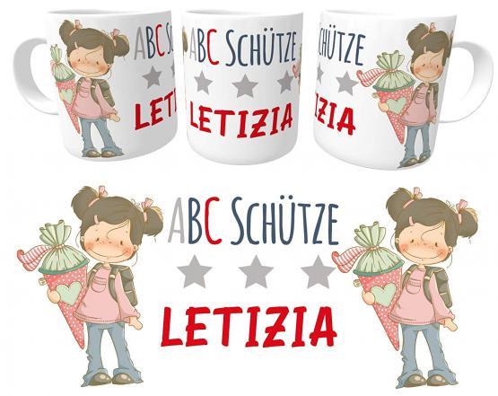Kindertasse Schulkind Mädchen Zuckertüte emmapünktchen, inkl. Geschenkverpackung