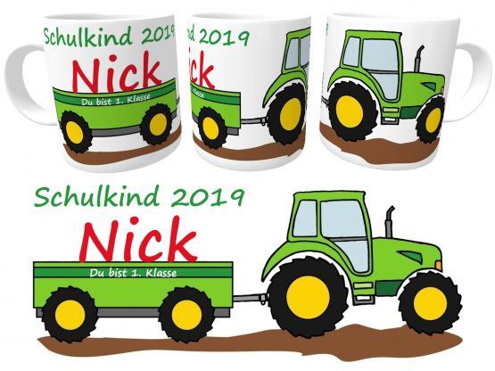 Tasse Schulkind 2020 Traktor zur Einschulung Jungen