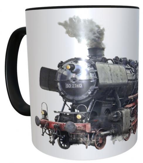 Kaffee-Tasse Dampflok Eisenbahn mit Wunschname - personalisierte Henkeltasse
