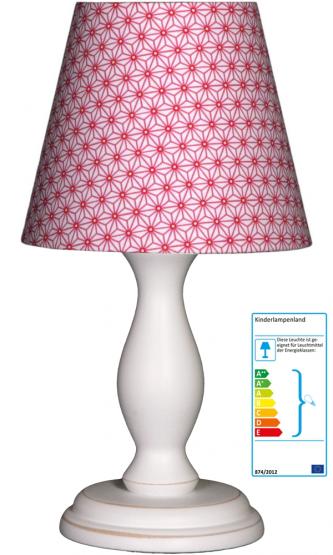 Tischlampe Blumen pink/weiss klein