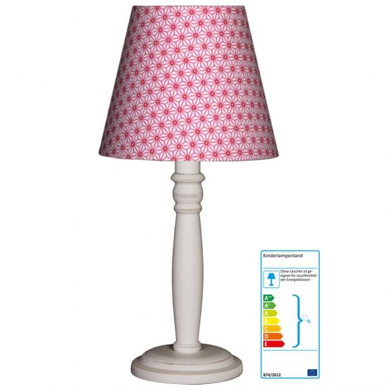 Tischlampe Blumen pink/weiss