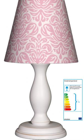 Tischlampe Ornamente  rosa klein