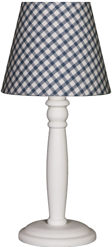 Tischlampe Karo blau/weiß