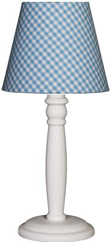 Tischlampe Karo hellblau/weiß