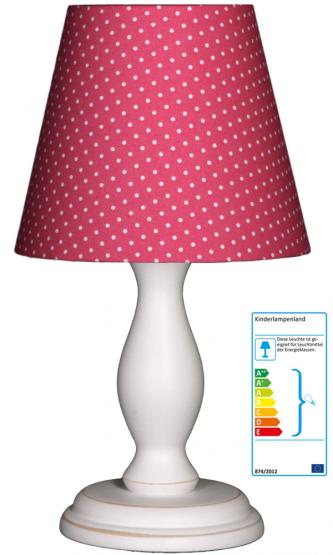 Tischlampe Tupfen pink/weiss klein