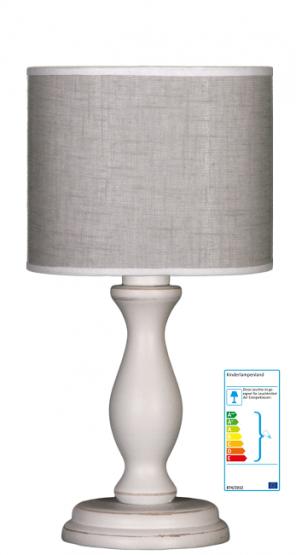 Tischlampe grau-weiß klein
