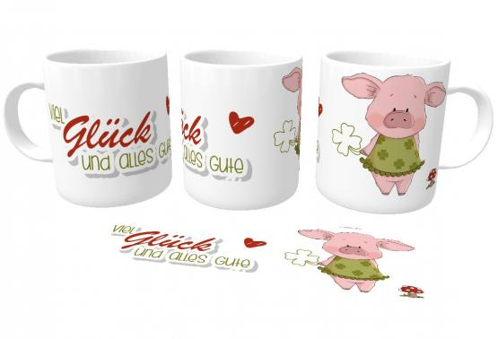 Kaffeetasse Viel Glück mit emmapünktchen Glücksschwein rosa