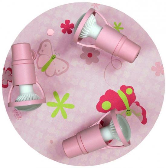 Kinderdeckenleuchte Papillion rosa/bunt 3-flg.