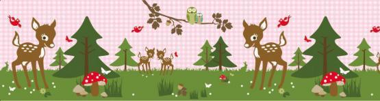 Anna Wand Bordüre Bambi und Friends rosa