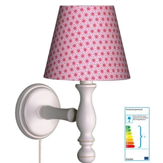 Wandlampe Blumen pink-weiß