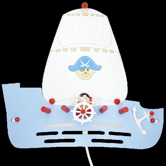 Elobra Wandleuchte Piratenschiff hellblau