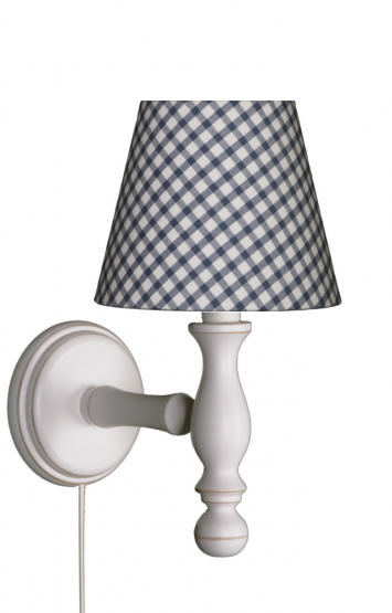 Wandlampe Karo blau/weiß
