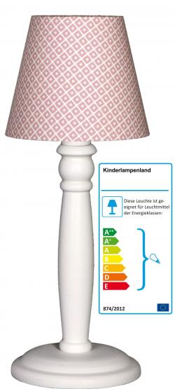 Tischlampe Rauten altrosa/weiß