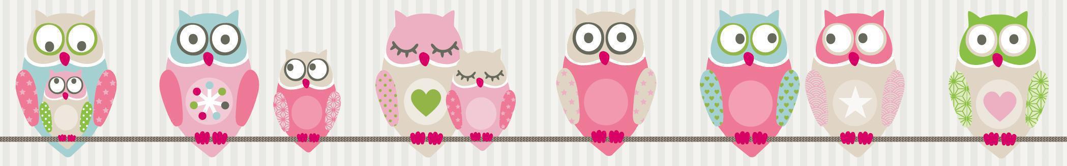 anna wand bord re eulen rosa wandsticker fensterbilder im kinderlampenland. Black Bedroom Furniture Sets. Home Design Ideas