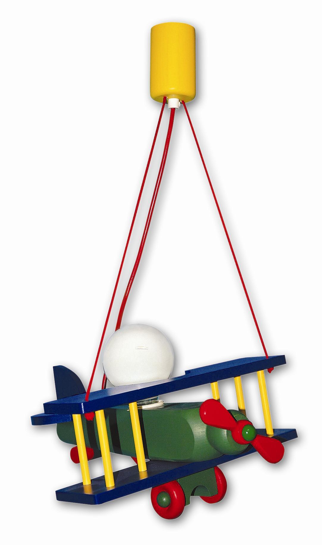 kinderlampe flugzeug klein bunt pendelleuchten aus holz. Black Bedroom Furniture Sets. Home Design Ideas