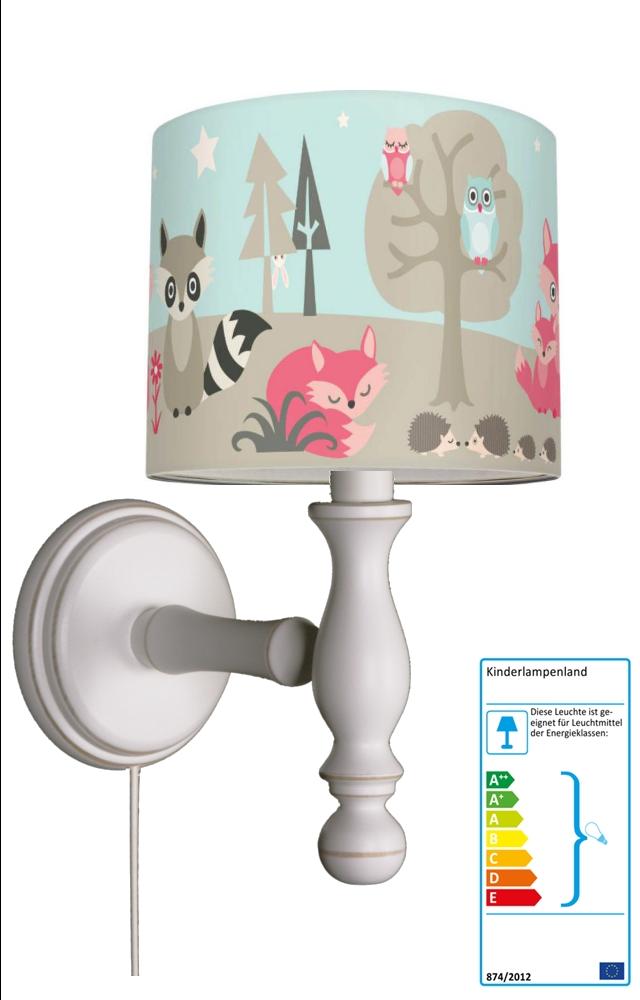 anna wand wandleuchte wald und fuchs wandlampen im kinderlampenland kaufen. Black Bedroom Furniture Sets. Home Design Ideas