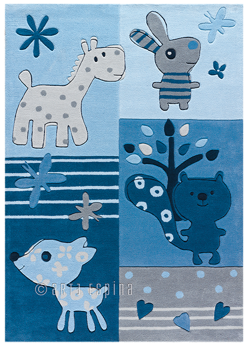 Kinderteppich dunkelblau  Arte Espina Teppich Tiere blau | kinderlampenland.de