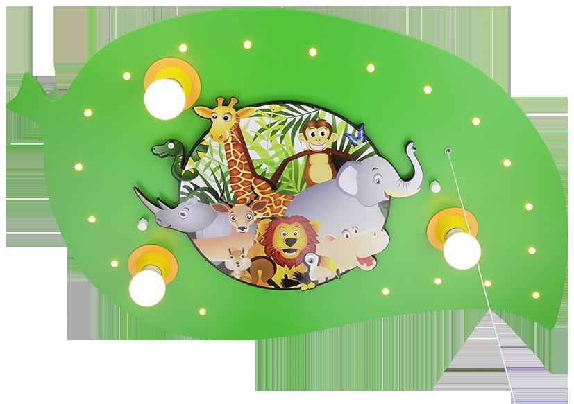 Elobra Deckenleuchte Blatt mit Dschungelbild LED | LED-Kinderlampen ...