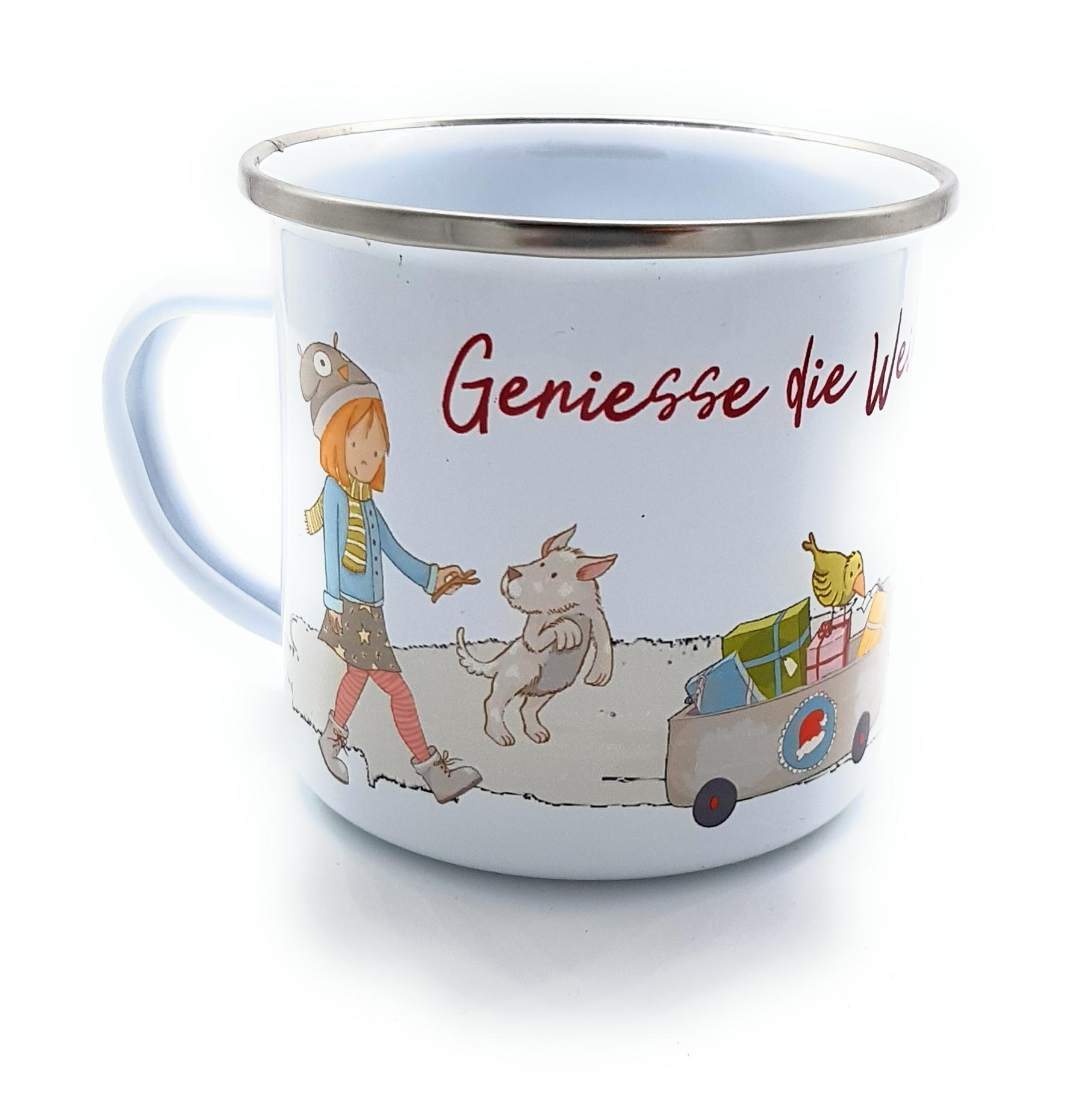 Emaille-Tasse Geniesse die Weihnachtszeit   personalisierte ...